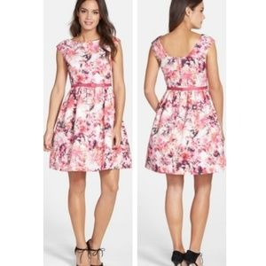 Eliza J Belted Floral Print Faille Fit Flare Dress